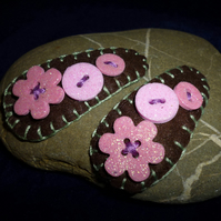 Hand made textile hair clips with shimmering foam die cut buttons