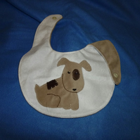 Hand made appliqued baby bib - doggy motif