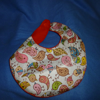 Waterproof birdy patterned baby bib - birdy & red