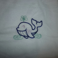 Baby sleep bag - sack with drawstring & embroidery- white