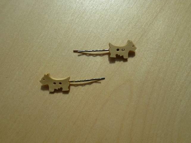 pair of Wooden button bobby pin hair clips- dog