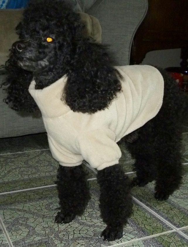 Dog sweater in fleece, bespoke, small- suitable for toy poodle, small terriers