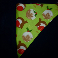 Dog bandanas -christmas design - lime green with robins and puddings