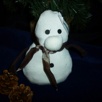 Hand made soft fluffy snowman
