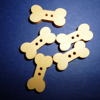 Wooden dog bone buttons  set of 5