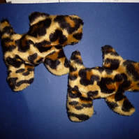 Cute doggie shaped reheatable pocket warmers- leopard fur fabric