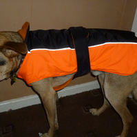 Hand made Chest protector dog coat -x small hi viz orange & black