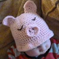 hand crochet baby pink pig hat - including curly tail