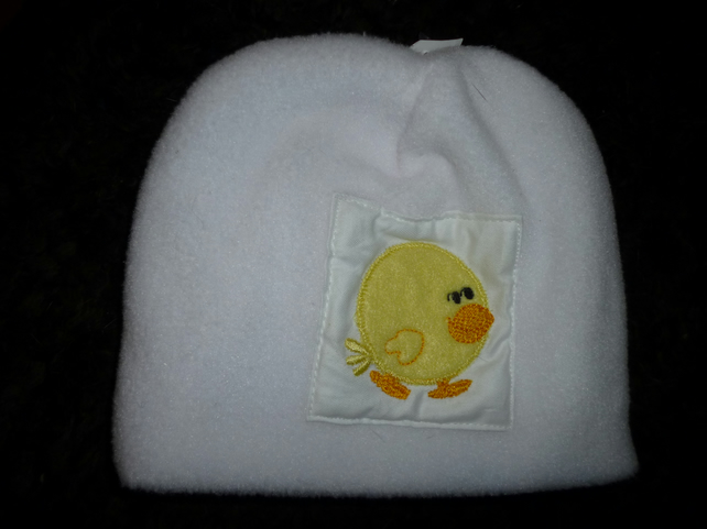 Baby hat with cute chick on white fleece