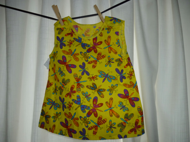 Baby dress made from a summery yellow print cotton fabric- 0-6 month(approx)