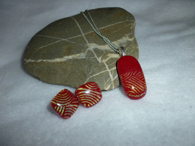 Fused Glass necklace & earring set - red