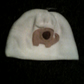 Baby hat with cute elephant  on white fleece