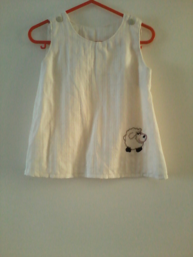 Baby dress with embroidered sheep motif- 0-6 month(approx)