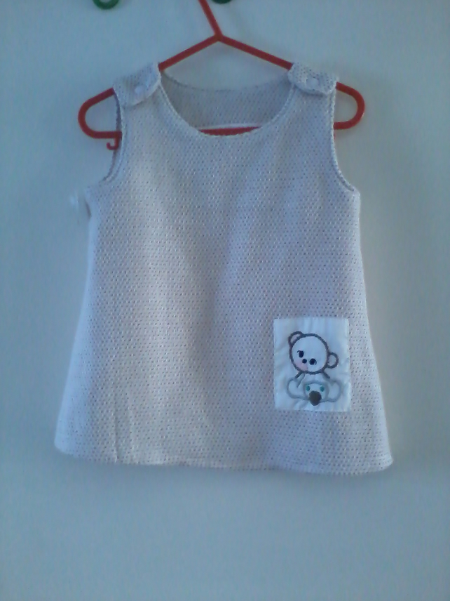 Baby dress with embroidered bear motif- 0-6 month(approx)