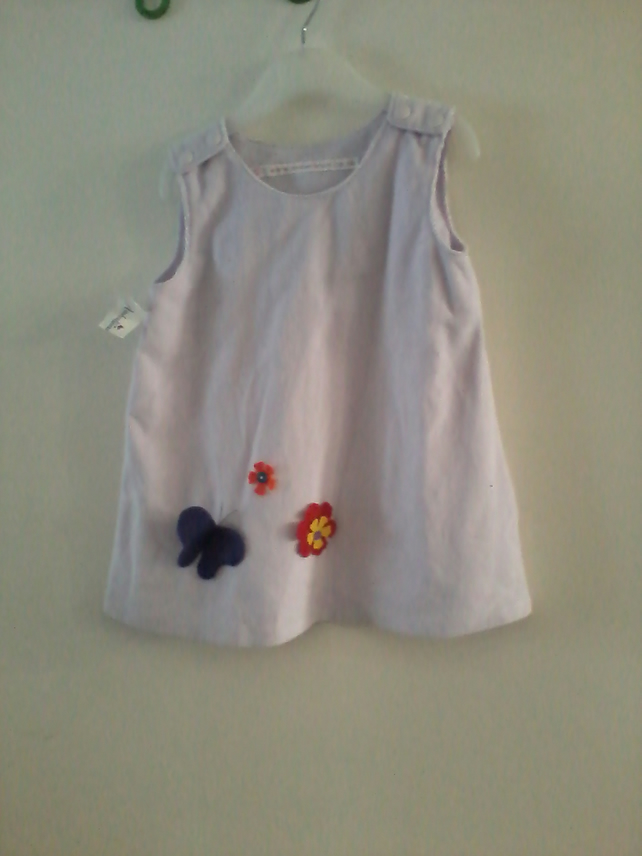 Baby dress with applique butterfly & flower detail- 0-6 month(approx)