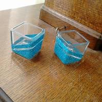 Glitter cube candle holders  - blue set of 2