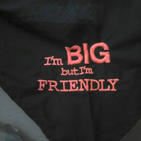 "Dog bandana large -worded big but friendly -upto 22"" collar approx"