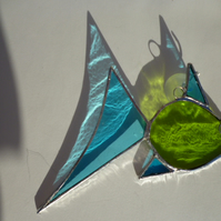 Stained glass fish suncatcher green & blue