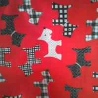 Red fabric with black and white scotty dog print fat quarter