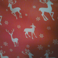 Xmas fabric red with deer - fat quarter or per metre lengths