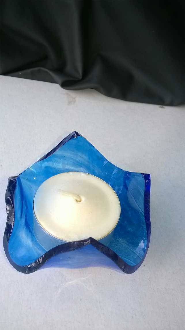Blue handkerchief drape candle, t-light or jewellery holder