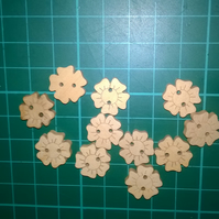 Little wooden flower buttons  set of 6
