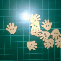 Little wooden hand buttons  set of 6
