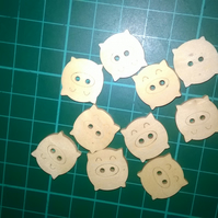 Little wooden pig buttons  set of 6