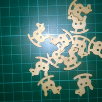 Little wooden rocking horse buttons  set of 6