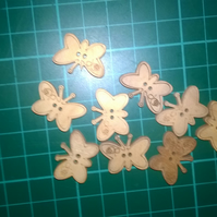Little wooden butterfly buttons  set of 6