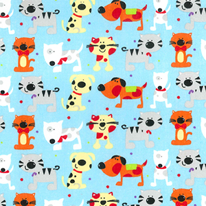 dog and cat print on blue - per fat quarter or per metre lengths
