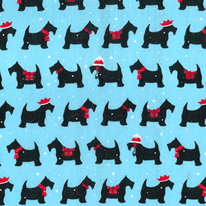 Xmas fabric blue with festive scotty dogs- per fat quarter or per metre lengths