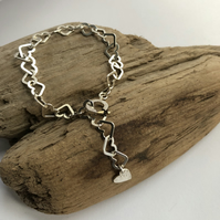 Silver Heart chain bracelet with heart charm