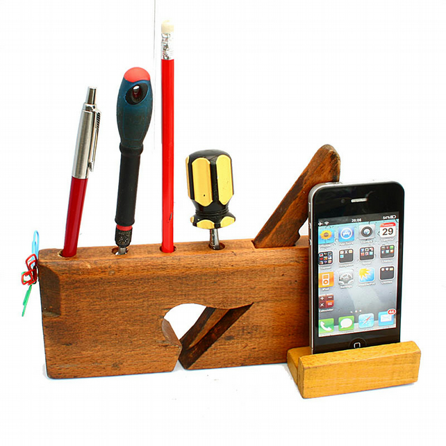iPhone Holder- Dock--Desk Tidy - Organiser - Upcycled  Antique Plane England UK