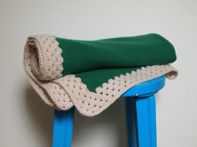 Knitted Lambswool Green Blanket With Beige Crochet Border