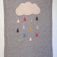 Knitted Grey Rain Cloud Blanket With Crocheted Edging