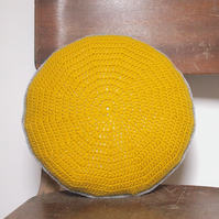Small Crocheted Golden Yellow Round Cushion