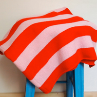 Red And Pink Striped Blanket Throw