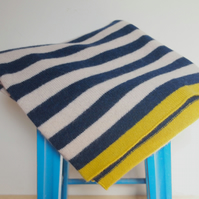 Lambswool Navy And Off White Striped Blanket, Available in 3 Sizes