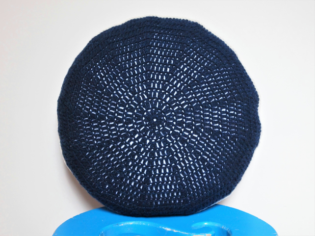 Small Crocheted Navy Round Cushion