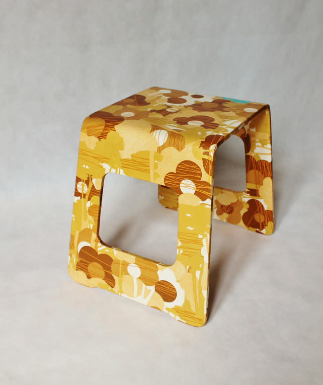 Retro flower decoupage side table or stool