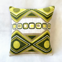 Green Geometric Diamonds Vintage Cushion