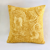 Vintage Orange & Yellow Floral Psychedelia Cushion