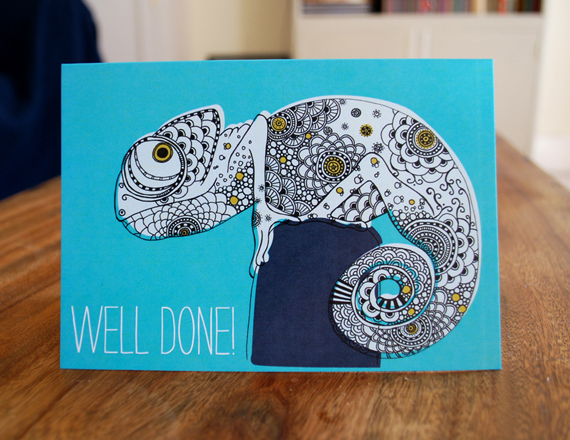 Well done card. Turquoise chameleon illustration.