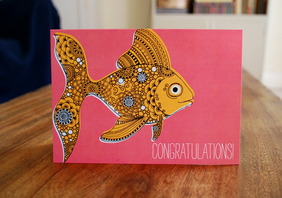 Congratulations card. Pink goldfish illustration.