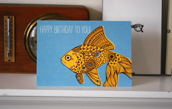 Birthday card. Goldfish design