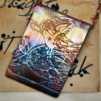 Etched copper crow pendant - copper pendant on brass chain
