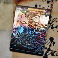 Etched copper magpie pendant - copper pendant on brass chain