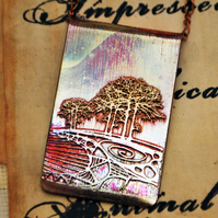 Etched copper double tree pendant - copper pendant on brass chain