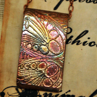 Etched copper pattern pendant - copper pendant on brass chain